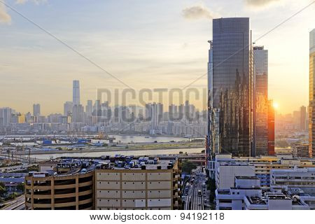 Hong Kong Sunset, View from kowloon bay downtown