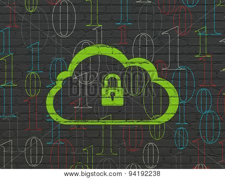 Cloud computing concept: Cloud With Padlock on wall background