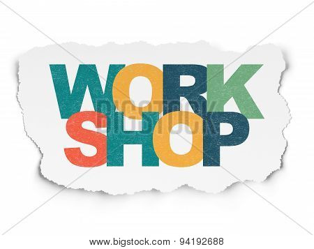 Learning concept: Workshop on Torn Paper background
