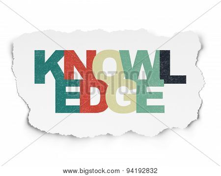 Learning concept: Knowledge on Torn Paper background