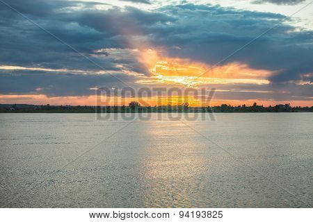 Sunset over river Tom Tomsk in summer