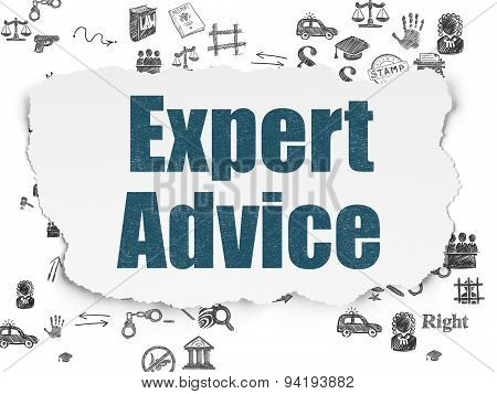 Law concept: Expert Advice on Torn Paper background