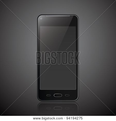 New Realistic Mobile Phone Smartphone Modern Style Dark Background With Reflection