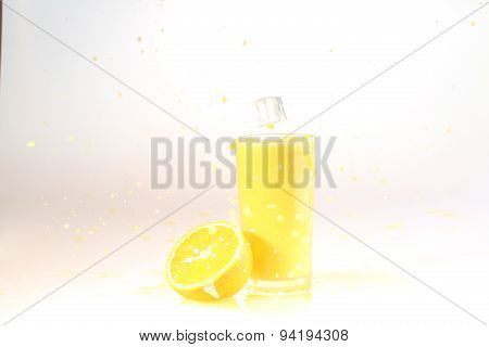 The Ice Slice, Glass Of Orange Juice Flies To A Glass With Orange Juice On A White Background