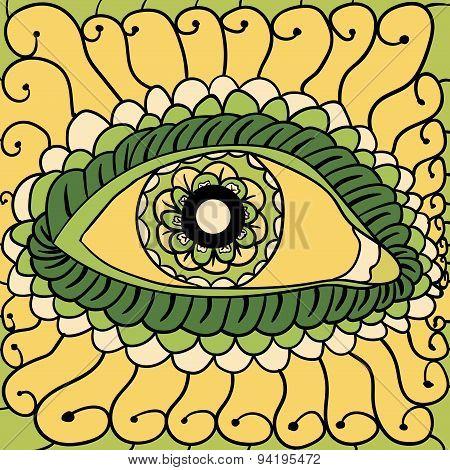 Vector illustration, abstract eyes artwork,