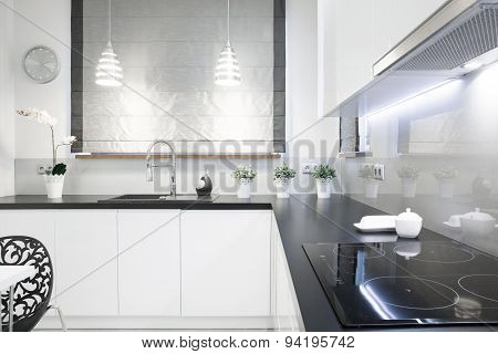 Black Top In White Kitchen
