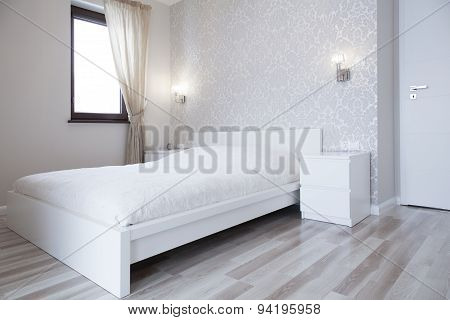 White Bed In Bright Bedroom