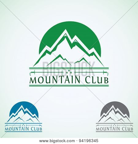 Mountains Vintage Vector Logo Design Template, Green Tourism Icon