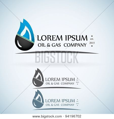 Oil Gas Company Vector Logo Design Template Color Set. Fire Oil Drop With Mountains Abstract Symbol