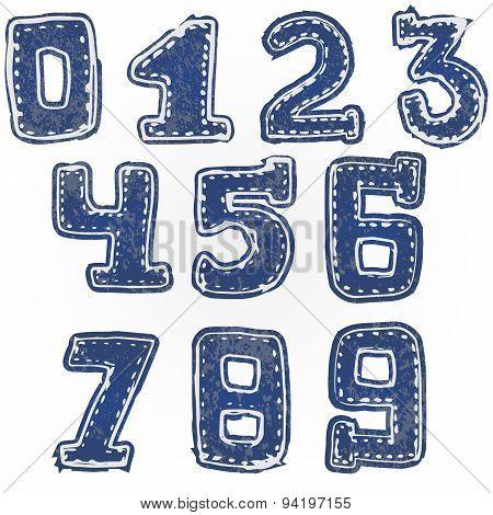 Written Numbers 0-9 Hand Drawn Sketch Denim Style