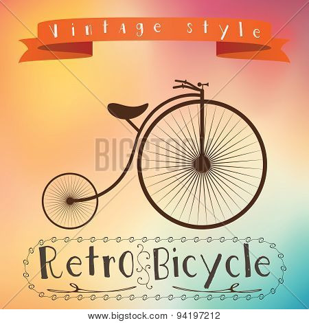 Retro Bicycle On Colorfull Background. Text In Vinage Frame