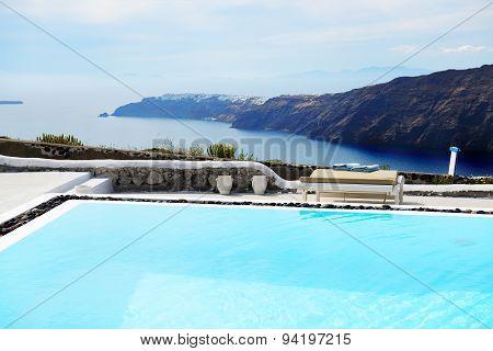 The Sea View Swimming Pool At Luxury Hotel, Santorini Island, Greece
