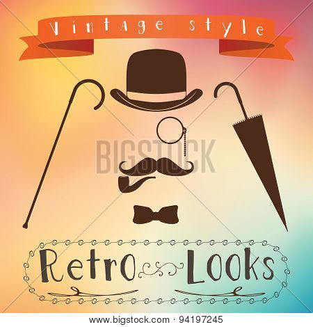 Retro Gentleman Elements Set - Bowler, Moustache, Tobacco Pipe Monocle, Cane And Umbrella