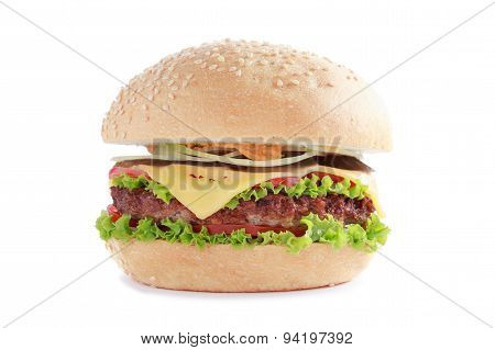 Juicy Tasty Burger with Beef, Cheese and Tomatoes on the Isolated White Background