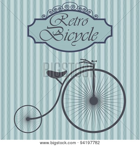 Retro Bicycle On Hipster Background. Vintage Sign Design. Old Fashiond Theme Label