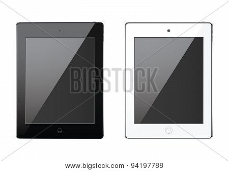 New Realistic Tablet Black And White Mock Up Tamplate, Modern Style, Isolated Background