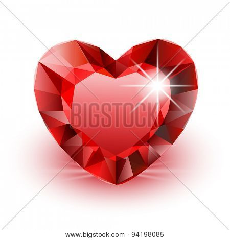 Vector Icon Diamond Heart for Valentine on white background. Illustration.