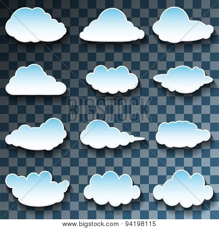 Vector Messages in the form of Clouds on Transparent background. Set, Illustration