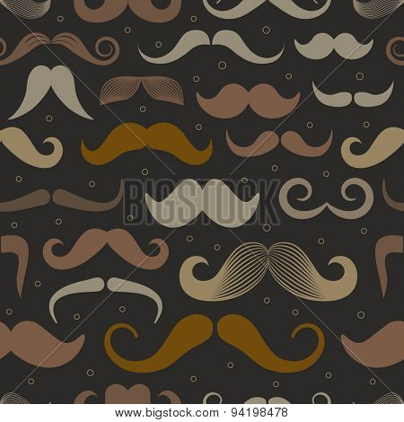 Different retro style moustache seamless pattern. Dark variation