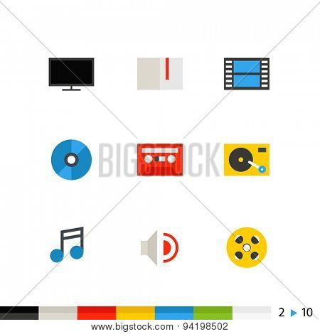 Different flat design web and application interface icons collection. Set 2 of 10