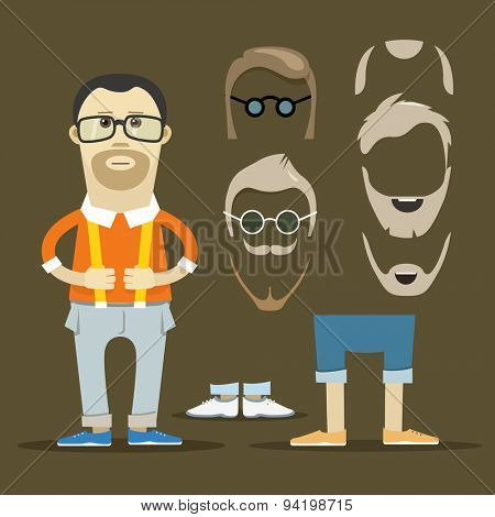 Hipster accessories vector clip-art. Person design elements