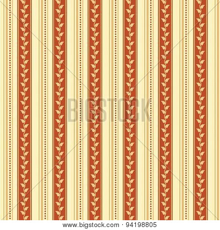 Retro Background Made With Vertical Stripes Dots And Leaves, Vintage Hipster Seamless Pattern