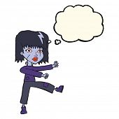 stock photo of undead  - cartoon undead girl with thought bubble - JPG