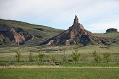 image of nebraska  - Chimney Rock in western Nebraska was an important landmark along the historic Oregon Trail - JPG