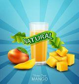 stock photo of mango  - vector background with mango and glass of mango juice - JPG