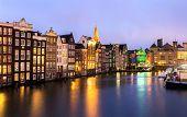 pic of nicholas  - Amsterdam Canals and Saint Nicholas church at dusk Natherland - JPG