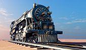 stock photo of locomotive  - Old steam locomotive in the desert - JPG