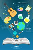 foto of math  - Science art maths and creativity tool icon is flying from an open open book to represent learn and knowledge concept infographic design with sample text create by vector - JPG