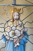 foto of chapels  - Holy Mary with child Jesus in French chapel behind fence - JPG