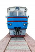 stock photo of locomotive  - the old blue locomotive on a white background - JPG