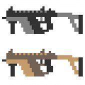 pic of sub-machine-gun  - illustration vector isolate icon pixel art sub machine gun - JPG