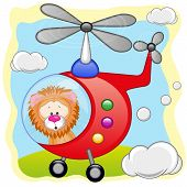 stock photo of helicopters  - Lion is flying in a red helicopter - JPG