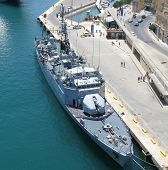picture of dock  - Aerial image of a French military ship docked in harbor - JPG