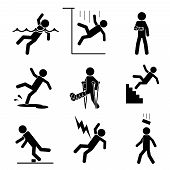 pic of fracture  - Safety and accident icons set - JPG