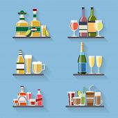 stock photo of liquor bottle  - Booze or drinks flat icons on tray at bar - JPG