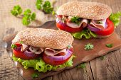 image of tomato sandwich  - sandwich with ham tomato and lettuce - JPG