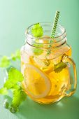 picture of masonic  - ice tea with lemon and melissa in mason jars - JPG
