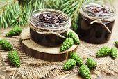 stock photo of pine cone  - Jam of green pine cones in glass jar - JPG