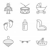 stock photo of drum-set  - Baby thin line related vector icon setfor web and mobile applications - JPG