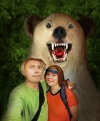 image of wilder  - Selfie of funny backpackers couple with friend in wilderness - JPG