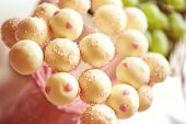 stock photo of cake pop  - Capture of delicious White cake pops on table - JPG