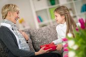 image of granddaughter  - Granddaughter giving gift to her grandmother - JPG