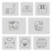 Постер, плакат: set of monochrome icons with American Indians relics dingbats characters part 13