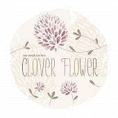 picture of red clover  - Clover circle label with lots of clover flowers and grass on grunge background - JPG