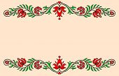 picture of hungarian  - Vintage label with red and green traditional Hungarian floral motives - JPG