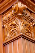 pic of pilaster  - Colonna square wooden carved close up view - JPG